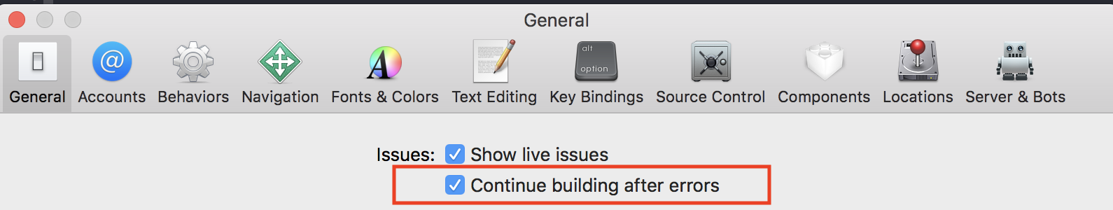 Xcode continue building after errors